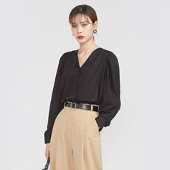 front button puff blouse_(693995)