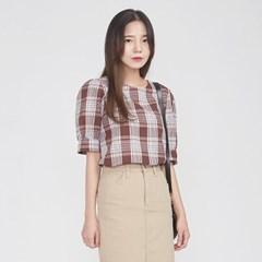 mild mood check puff blouse_(693965)