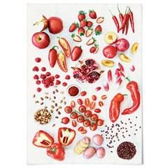패브릭 천 포스터 F060 주방 소품 Eat red color