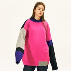 [AW17 Pink Panther] Color Block Knit(Black)_(557113)