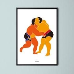 유니크 인테리어 디자인 포스터 M 천하장사 씨름