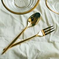 Gold slim dessert spoon & fork