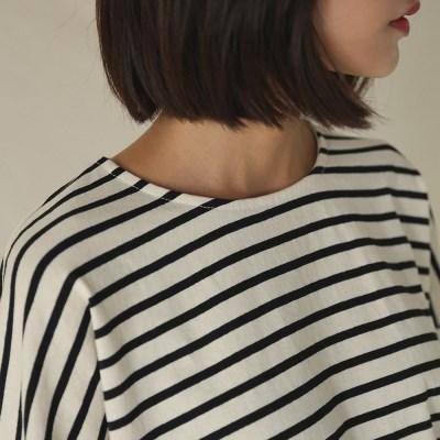 side slit basic stripe tee