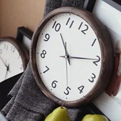 우드라운드 저소음벽시계 엔틱브라운