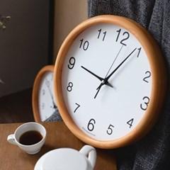 우드라운드 저소음벽시계 소나무색