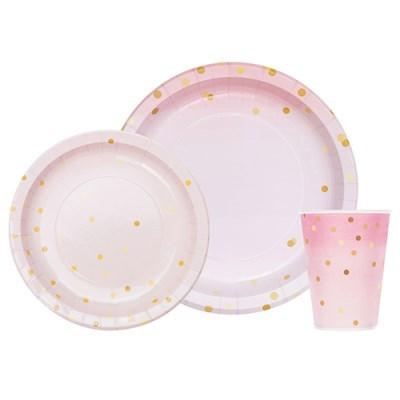 핑크마블도트 종이접시 종이컵 세트