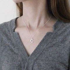 Square trick necklace (실버 사각 목걸이) [92.5 silver]