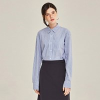 COTTON STRIPE OVERSIZE SHIRTS (BLUE)