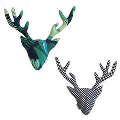 {패브릭 헌팅트로피}Deer_Forest+black check (양면)