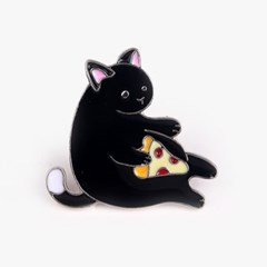 피자 먹는 고양이 금속 뱃지