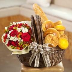 FN1722 피크닉바구니세트(빵+꽃)