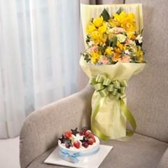 FN2432 축하해요(꽃다발)+케익