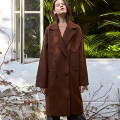 DOUBLE BUTTON WOOL COAT_BROWN