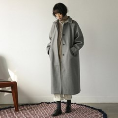 hidden button loose fit long coat