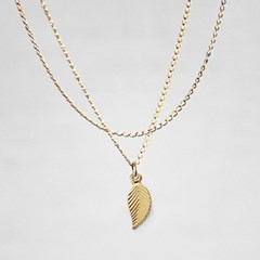 14K. LEAF SLIM NECKLACE