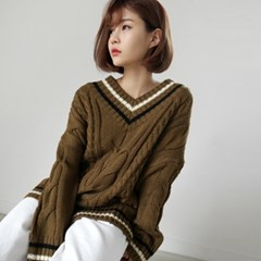 Hide twist v-neck knit