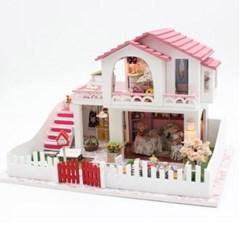 [adico] DIY 미니어처 풀하우스 - 핑크 2층 하우스_(749605)