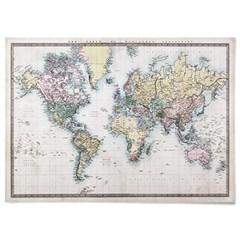패브릭 천 포스터 F128 지구본 빈티지 세계지도 ver2