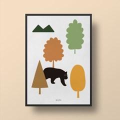 인테리어 디자인 포스터 M 숲속에 곰이 산다