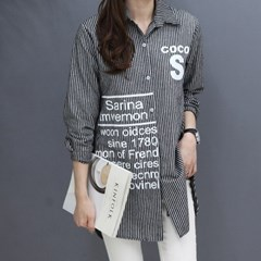 [하늘바라기]코코 기모 스트라이프 셔츠