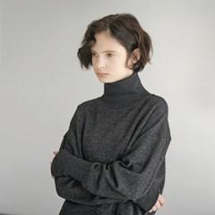 Wool Knit Turtleneck - Dark Grey