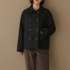 basic double button half coat