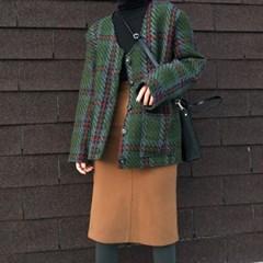 Classy check cardigan(울10%)