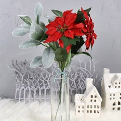 크리스마스 포인세티아 램스이어가지 세트 조화꽃_(1034285)