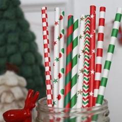 크리스마스 페이퍼 스트로우 20P세트_(1034279)