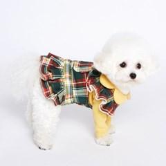 강아지옷 프릴카라 체크 드레스