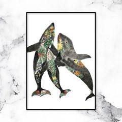 동물 일러스트 돌고래가족