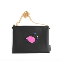 White Rooster Clutch Bag Black