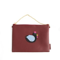 White Rooster Clutch Bag Wine