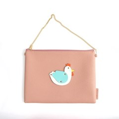 White Rooster Clutch Bag Pink