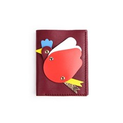 Flying Hen Mini Wallet _ Wine