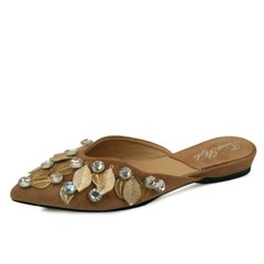 kami et muse Gold charm beads suede slippers_KM17w254