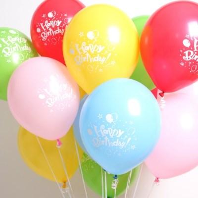 인쇄풍선 소포장(케이스)-생일풍선 5입