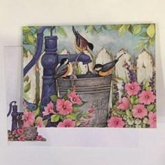 일러스트카드-Garden fountain