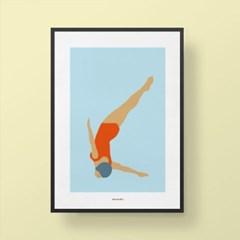유니크 인테리어 디자인 포스터 M 다이빙
