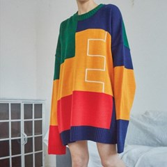 multi-color boxy knit (2 color) - UNISEX_(860346)
