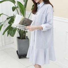 [하늘바라기]러블리 스트라이프 셔츠 원피스
