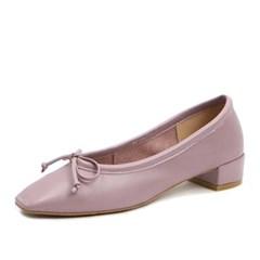 kami et muse Low heel ribbon leather pumps_KM18s034