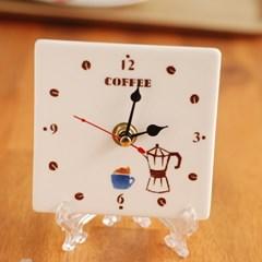 도자기 시계(벽걸이,탁상용 겸용)_커피