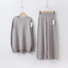 [Set] Hoega Round Knit + Wide Pants