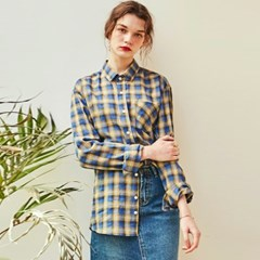 ROSE CHECK OVERFIT SHIRT_BLUE