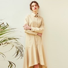 NATURAL FLARE LONG ONEPIECE_BEIGE