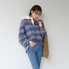 puff sleeve stripe collar tee