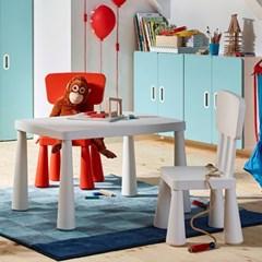 이케아 MAMMUT 사각테이블 + 등받이의자2개 세트/유아책상/유아의자