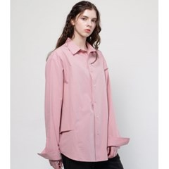 UNISEX SIDE DOUBLE DETAIL SHIRT INDIGO PINK