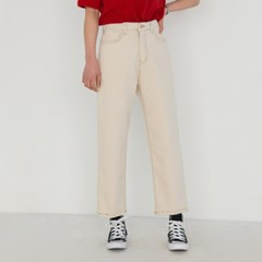 high-waist straight fit cotton pants